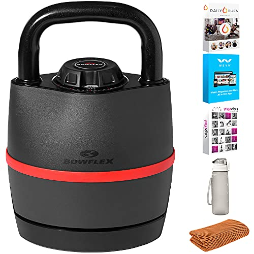 Bowflex 100790 SelectTech 840 Kettlebell, Adjusts from 8 - 40 lbs Bundle with Tech Smart USA Fitness & Wellness Suite, Deco Essentials 32 oz Leakproof Water Bottle and Workout Cooling Sport Towel