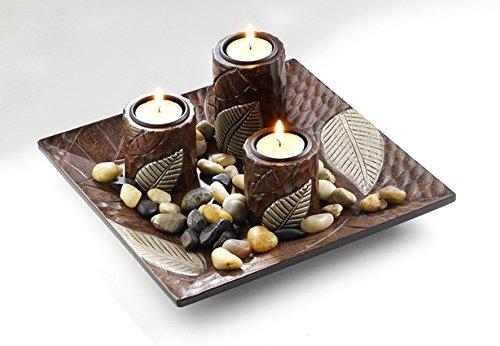 Locker Dekoschale mit DREI Kerzenhalter aus Holz