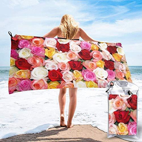 Flor Floral Toalla de Playa 27.5 'X 55',Pavo Real Arena Ultra Suave Microfibra Portátil Absorbente de Agua Microfibra múltiple Toalla de Playa sin Arena Manta