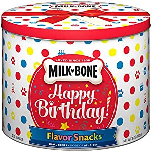 Milk-Bone Flavor Snacks Birthday Dog Treats, Small/Medium Biscuits, 36 Ounce Tin