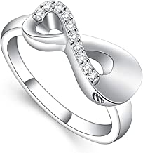 shajwo Urn Ring Infinity Love Heart Cremation Jewelry for Human Pet Ashes Holder Urn Keepsake Memorial Ring for Women Girls