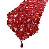 BHGT Camino de Mesa Navideño 180 * 35cm Arpillera Decoración de Navidad Corredor de Mesa Tapete Adorno Rojo con Copos de Nieve