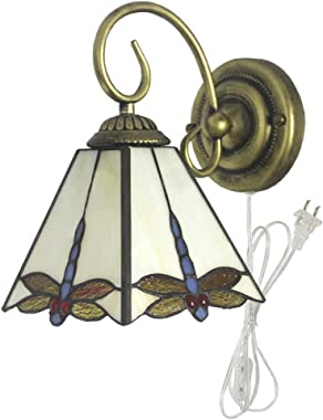 Kiven Tiffany Wall lamp Plug-in Bulb not Included Wall Sconce Glass Shade 6 Foot Black Cord,One Lamp