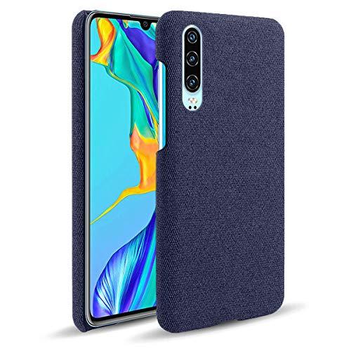 Suhctup Compatible con Huawei Honor 30 Pro Funda de Tela Tejida de Color Sólido TPU Forrada Premium de Carcasa Simple Moda Antideslizante Antigolpes Anti-arañazos Protección Caso(Azul)