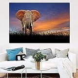 ganlanshu Pintura sin Marco Arte Elefante Pintura Mural Imagen casa Dormitorio Sala de Estar decoración del hogar ZGQ4893 60X90cm