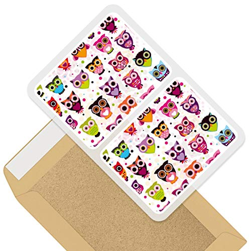 Rectangle Stickers (Set of 2) 10cm - Colourful Cartoon Owl Design Decals for Laptops,Tablets,Luggage,Scrap Booking,Fridges, 44653