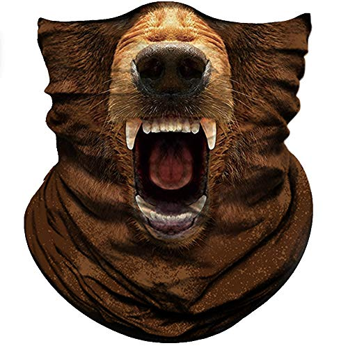 Obacle Animal Half Face Mask Sun Dust Wind Protection Durable Breathable Seamless Face Mask for Men Women Thin Neck Gaiter for Outdoor Sports (Bear Open Mouth Brown)