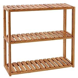 SONGMICS Estantería de Bambú para Baño, Librería, Organizador, Estantería de Almacanamiento de Pared, 60 x 15 x 54 cm BCB13Y