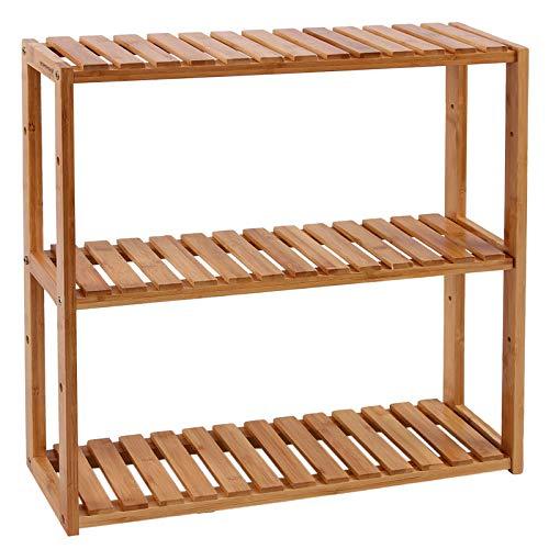 SONGMICS Badezimmerregal aus Bambus, Pflanzenregal mit 3 verstellbaren Regalebenen, Wandmontage oder...
