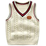 Achiyi Baby Toddler Boys Solid Color V Neck Sweater Vest Sleeveless Pullover Knitted Waistcoat Xing 100 Beige