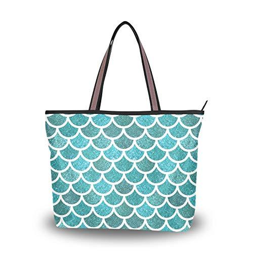 NaiiaN für Frauen Mädchen Damen Student Handtaschen Meerjungfrau Waage Einkaufstasche Leichter Gurt Geldbörse Einkaufen Umhängetaschen