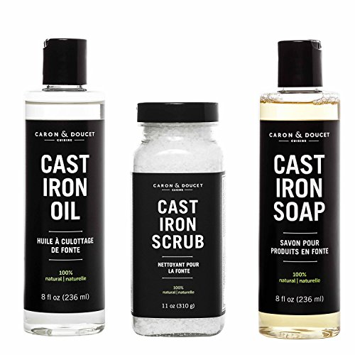 Caron & Doucet - Ultimate Cast Iron Set: Seasoning Oil, Cleaning Soap & Restoring Scrub | 100% Plant-Based & Best for Cleaning Care, Washing, Restoring & Seasoning Cast Iron Skillets, Pans & Grills!