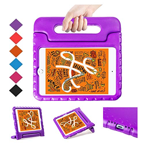 BMOUO Kids Case for iPad Mini 5 2019 /iPad Mini 4 2015 - Light Weight Shockproof Protective Convertible Handle Stand Case Cover for iPad Mini 5th Generation 7.9 inch 2019 Latest Model - Purple