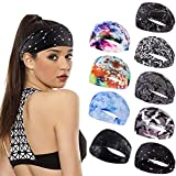 Carede Boho Headbands for Women Black Paisley Yoga Headbands Wide...