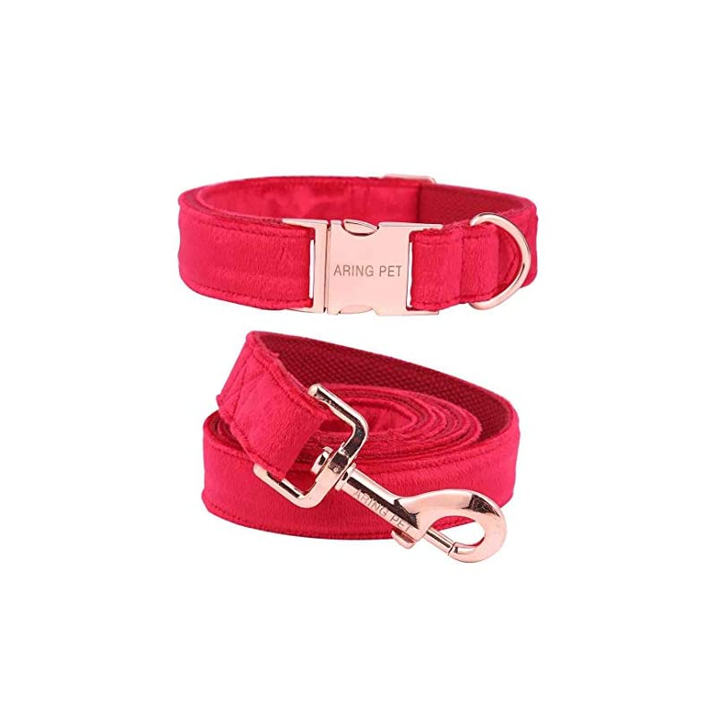 dog supplies online aring pet dog collar and leash, velvet dog collar and leash set, soft & comfy, adjustable collars for dogs