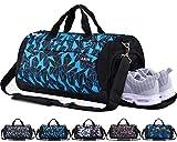 CoCoMall, Sporttasche mit Schuhfach und Nasstasche, Reisetasche für Damen und Herren L diamantblau
