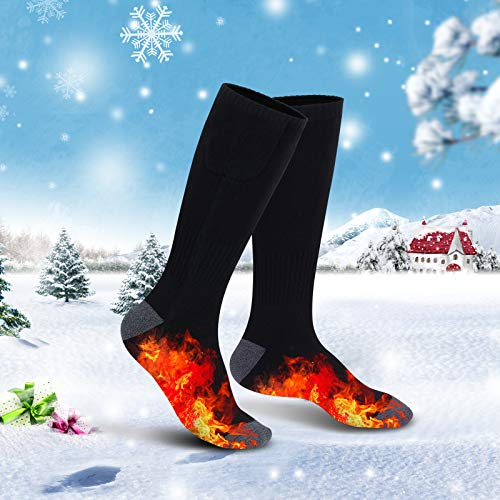 Achirarko Unisex Rechargeable Electric Heated Socks Battery Powered Comfortable Socks-Winter Socks Sport Outdoor Hunting Camping Hiking Warm Cotton Socks for Men Women (Black)