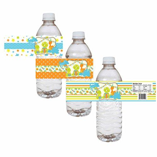 Adorebynat Party Decorations - EU Dinosaurio etiquetas de las botellas de agua del partido - muchacho de los niños de cumpleaños de la fiesta de bienvenida bebida de la etiqueta - conjunto de 12