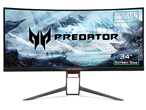 Acer Predator X34P 34 Inch Quad HD Curved 1900R Gaming Monitor, Black (IPS Panel, G-Sync, 100 Hz, 4 ms, ZeroFrame, DP, HDMI, USB Hub)