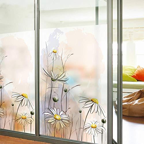 Maat Maatwerk Gebrandschilderde Glasfolie Schuifdeur Badkamer Buis Statisch Vastklampen Home Decor Madeliefje Natuur, 60cm breed 200cm hoog