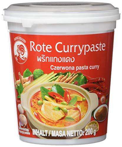 Cock Currypaste rot, mittelscharf, authentisch thailändisch Kochen, natürliche Zutaten, vegan, halal und glutenfrei (4 x 200 g)