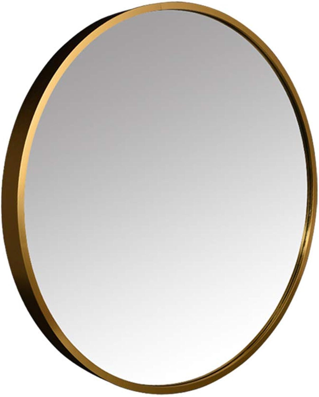 Aluminum Bathroom Mirror, Household Bathroom Metal Mirror Wall Mounted Mirror Toilet Mirror Round Decorative Mirror,gold,40CM