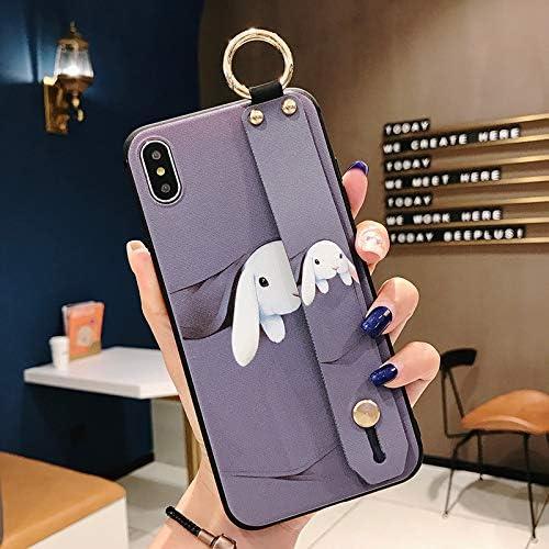 NiceGuu Phone Case for iPhone 7 8 Case for iPhone 11 Pro Max X XS Max XR 7 8 Plus Soft TPU Wrist Strap Phone Holder Case (Purple, for iPhone 11 Pro Max)