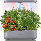 Yoocaa 12 Pods Hydroponics Herb Garden, 19.4'' Height Adjustable Gardening System with Led, Indoor Hydroponics Growing System for Plants Growing in Home & Kitchen, Grey