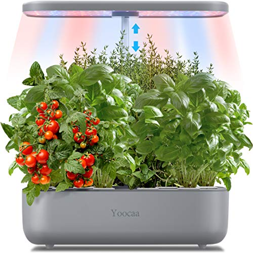 Yoocaa 12 Pods Hydroponics Growing System, Large Indoor Herb Garden With LED Light, Up To 19.4'' Height Adjustable Hydroponics Gardening System For Home Kitchen Gardening (Grey)