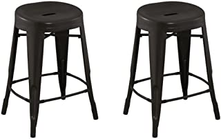 ACEssentials Contoured Seat, Round Backless Counter Stool - Antique Brown 2 Pack 24