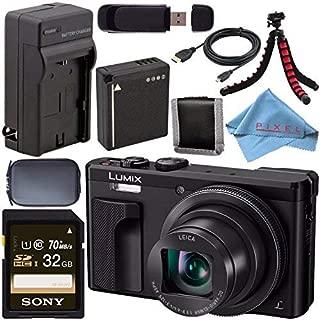 Panasonic Lumix DMC-ZS60 Digital Camera (Black) DMC-ZS60-K + DMW-BLG10 Lithium Ion Battery + External Rapid Charger + Sony 32GB SDHC Card + Small Case + Flexible Tripod Bundle