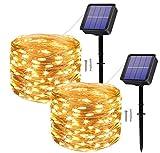 [2 Pack] Guirnaldas Luces Solares para Exterior,120 LED 12M Impermeables Cadena de Luces Decoracion para...