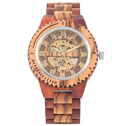 FMXKSW Holzuhr, Retro Holzuhr Gold Roman Literal Mechanical Uhren Herren Armreifuhr aus Holz, Rotes Holz