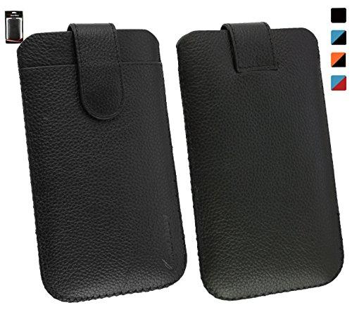 Emartbuy® Allview V2 Viper i4G Genuine Calfskin Schwarz Leder Slide in Hülle Tasche Sleeve ( Größe LM2 ) mit Kreditkarte Schlitz und Pull Tab Mechanism