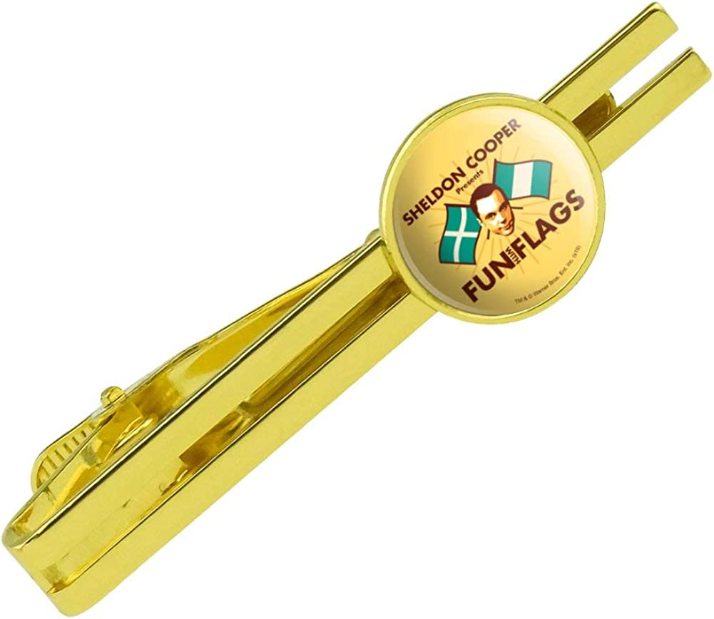 GRAPHICS & MORE Big Bang Theory Sheldon Cooper Fun with Flags Round Tie Bar Clip Clasp Tack Gold Color Plated