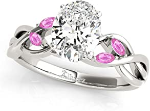 Twisted Oval Pink Sapphires Engagement Ring Platinum (1.50ct)