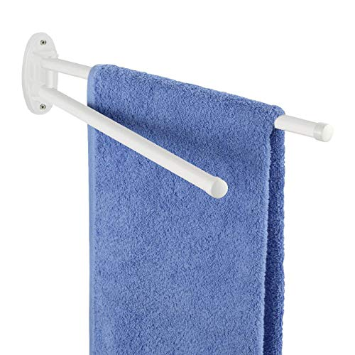 WENKO Handtuchhalter Basic Weiß - 2 bewegliche Arme, Metall, 4.5 x 9.5 x 41 cm, Weiß