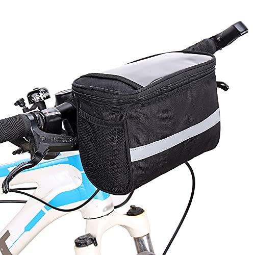QKTYB Bolsa para manillar de bicicleta, 2 L, impermeable, función de refrigerador, bolsa de almacenamiento de tubo superior frontal, para bicicletas de montaña, bicicletas plegables (negro)