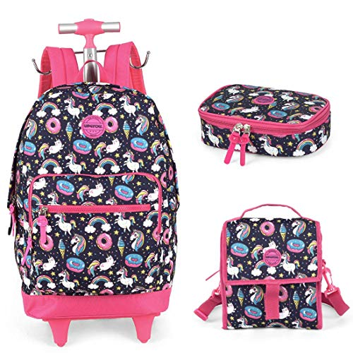 Kit Mochila Infantil com Rodinhas Lancheira e Estojo 100 Pens Unicórnio Up4You MC51396UP