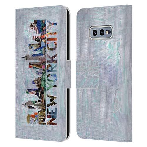 Head Case Designs Licenciado Oficialmente Artpoptart Nueva York Viaje Carcasa de Cuero Tipo Libro Compatible con Samsung Galaxy S10e