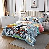 Homewish Panda Tagesdecke, Kinder Jungen Ballon Blume Gesteppte Bettdecke Teens Cute Animal Riding A Fahrrad Bettwäsche Set, dekorative 2-teilige Bettdecke Set mit 1 Kissenbezug, 170x210