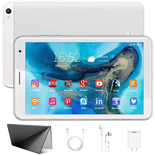 Tablet 8 Pollici Android 10.0 Certificato Google GSM, 3 GB + 32 GB, Espanso 128GB, Quad-Core 1.6Ghz ,5000mAh, 1280 * 800 IPS, 2MP + 5MP, FM e Wi-Fi (Argento)