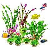 7 plantas de pecera, plantas artificiales de acuario, plantas de plástico para acuarios, plantas artificiales de algas marinas, decoración de acuario para todos los peces