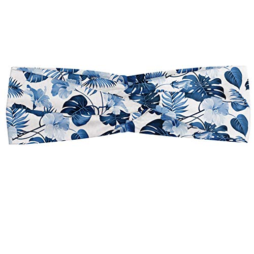 ABAKUHAUS Diadame Hawai, Banda Elástica y Suave para Mujer para Deportes y Uso Diario Rama de árbol Arecaceae polinesia de triunfo y victoria primavera, Azul Cobalto Azul bebé