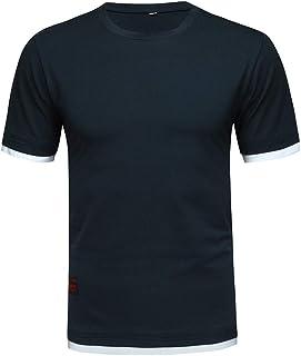 デザイン裾 メンズ 花千束 半袖 tシャツ 無地 カットソー ゆったり シャツ カジュアル 日常 トップス 綿 大きいサイズ 夏服
