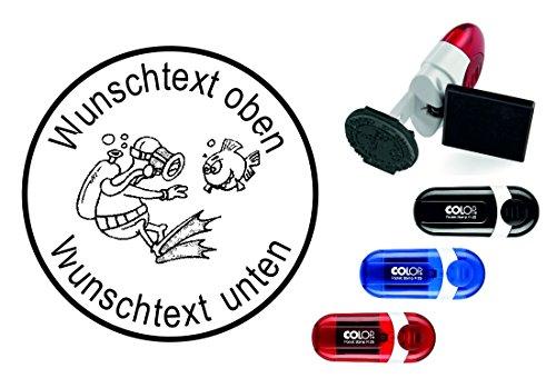 Taucherstempel « TAUCHER 02 » mit persönlichem Namen & Tauchspruch - Abdruckgröße ca. Ø 24 mm - Tauchen Diving Fisch - Stempel für Logbuch