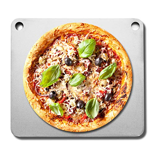 """Fire amp Slice Large Pizza Stone for Oven and Grill   High Performance Double PreSeasoned Carbon Steel Pizza Pan Pizza Steel BBQ Grill Stone Baking Stone/Baking Steel 1/4""""x14 x16 Made in USA"""