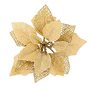 Jim's Cabin Artificial Flowers Pack of 12 Glitter Poinsettias for Christmas Tree Ornaments Butterfly Christmas Gold Decorations(Golden)