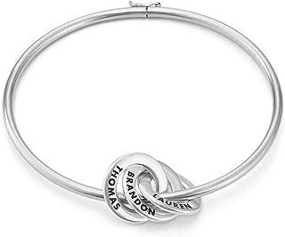MyNameNecklace Personalized 3 Russian Ring Bangle Bracelet – Custom Engraved Discs