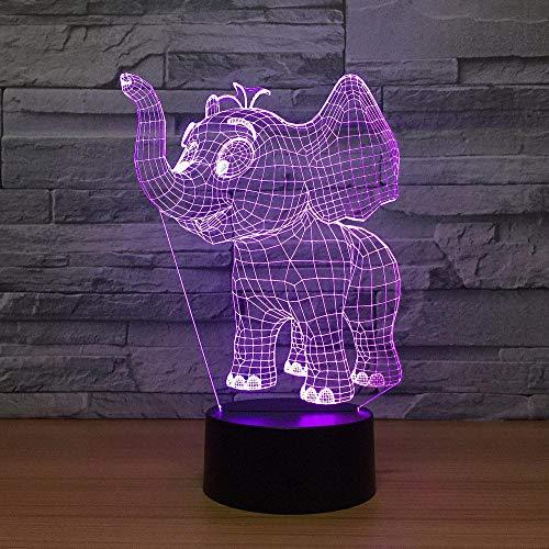 Juguetes Luz de noche elefante 3D lámpara de noche recargable USB, dormitorios noche luces para la bahía niños amantes de cumpleaños regalos